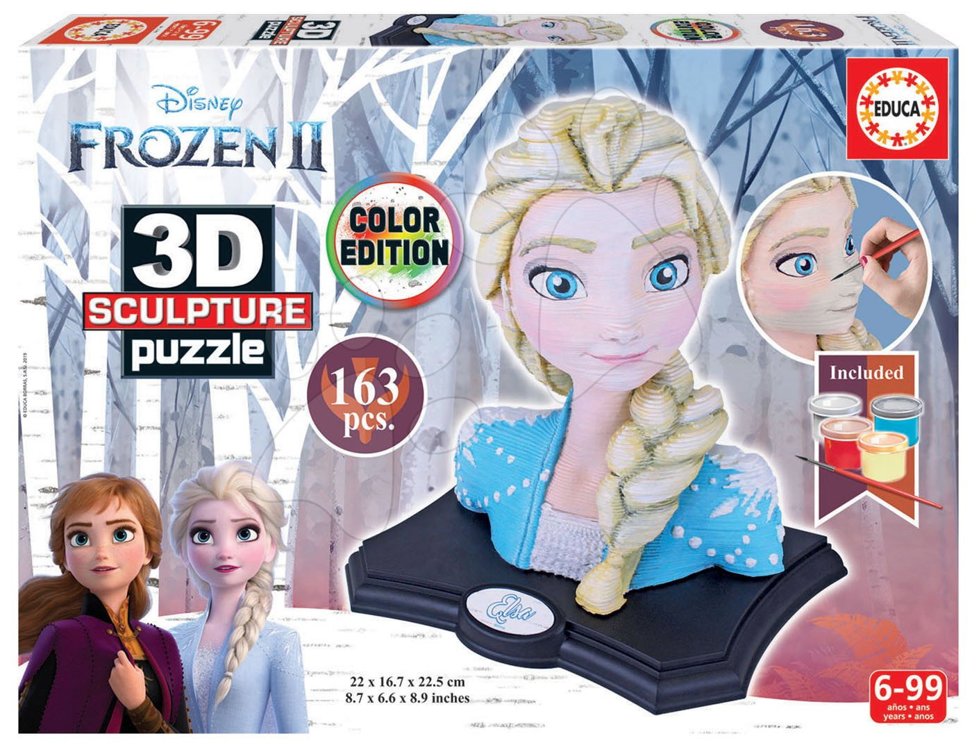 Sochařské puzzle 3D Sculpture – Frozen 2 Disney Color edition 163 dílků od 6 let