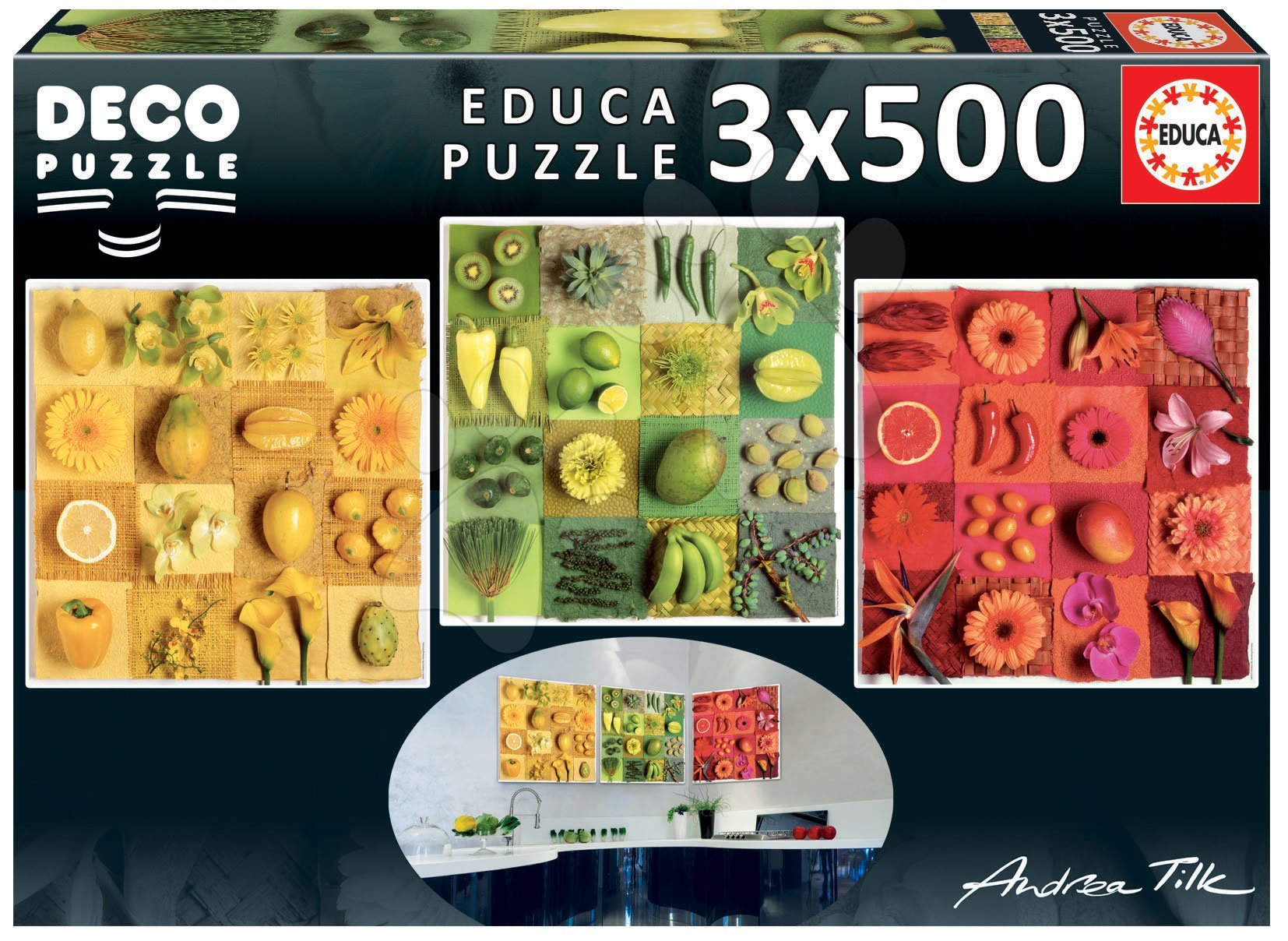 Puzzle Exotic Fruits and Flowers Educa Andrea Tilk 3x500 a Fix lepidlo od 11 rokov