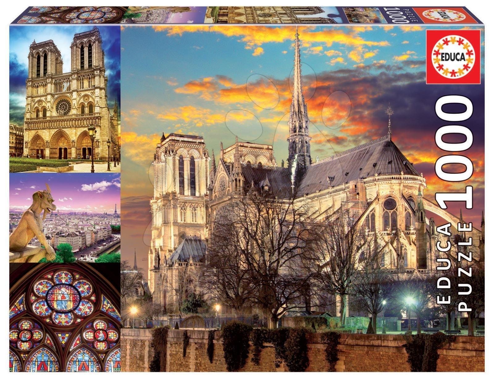 Puzzle Notre Dame Collage Educa cu 1000 piese şi lipici Fix de la 11 ani