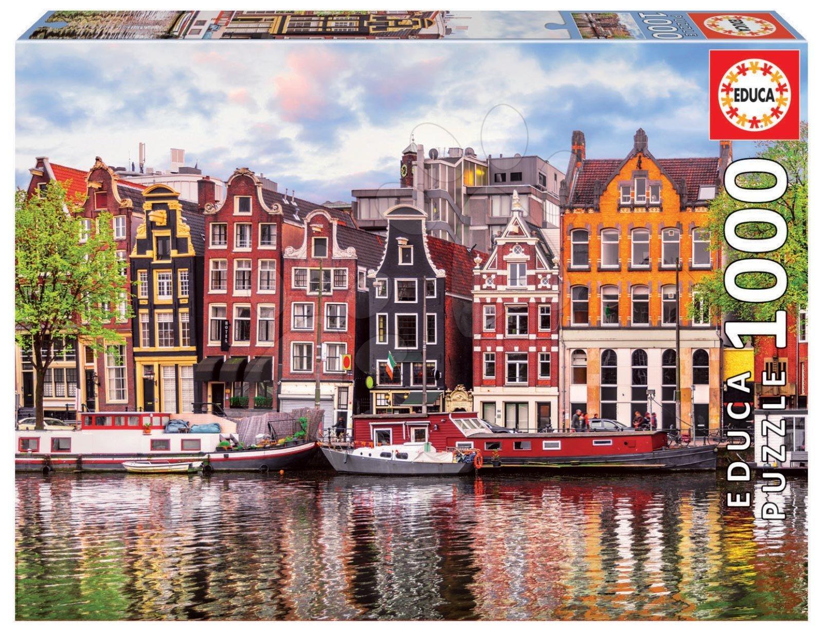 Puzzle Dancing Houses Amsterdam Educa cu 1000 piese şi lipici Fix de la 11 ani