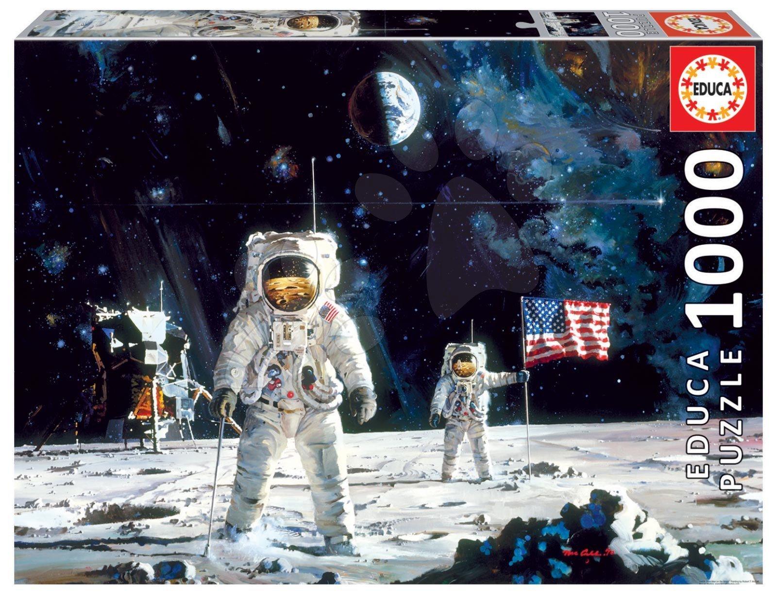 Puzzle First Man on the Moon Educa Robert McCall cu 1000 piese şi lipici Fix de la 11 ani