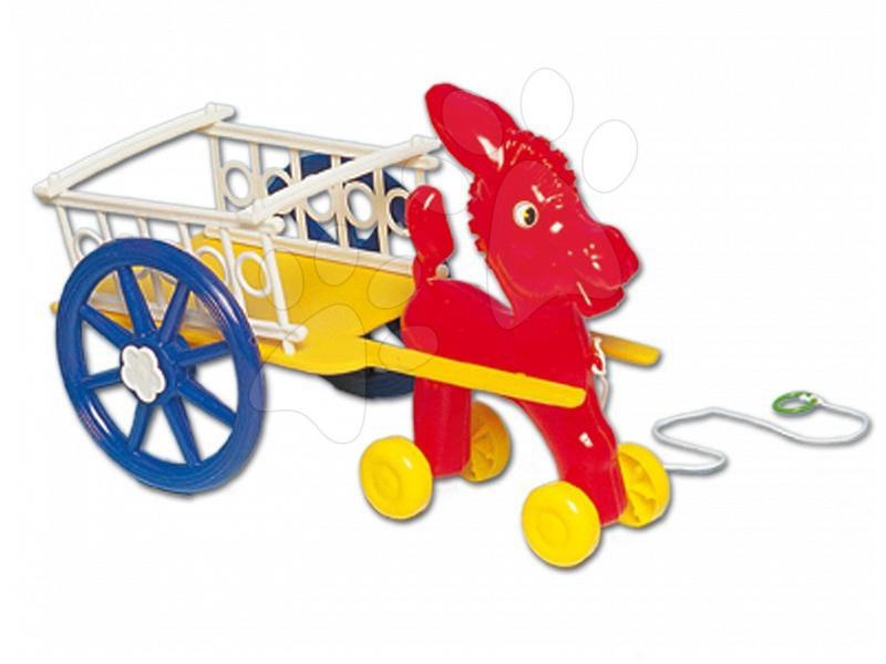 Ťahacie hračky - Somárik na ťahanie Dohány s vozom