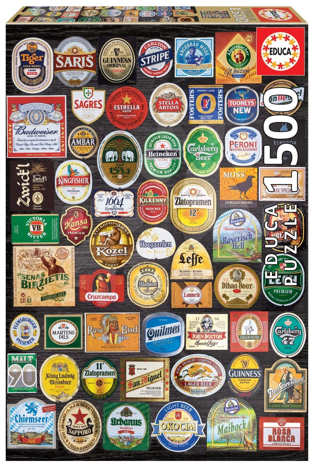 Puzzle Beer labels Collage Educa 1500 dílků a Fix lepidlo od 11 let