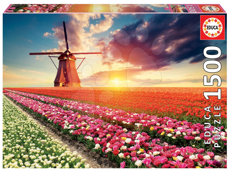 Puzzle Tulips Landscape Educa 1500 dielov a Fix lepidlo od 11 rokov