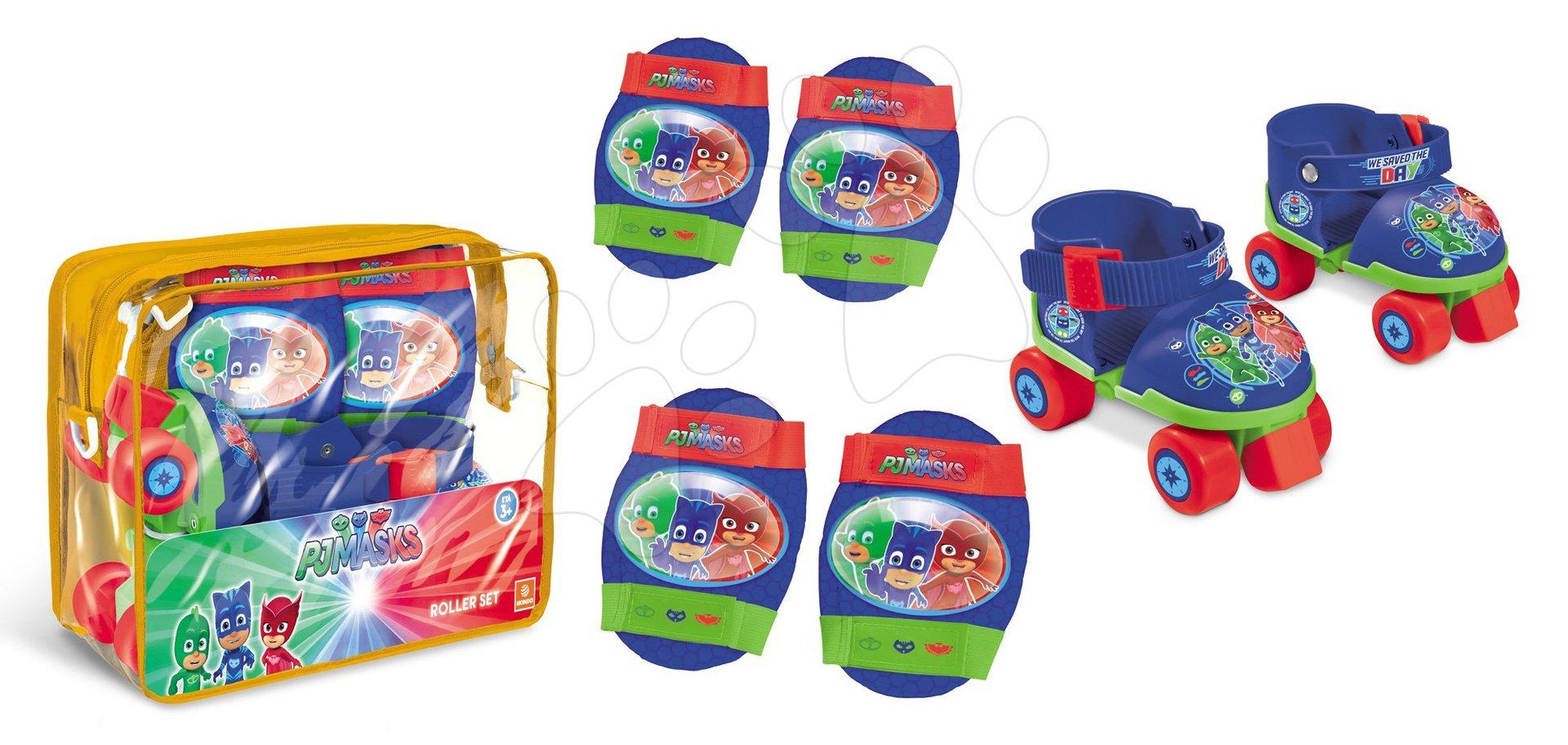 Kolečkové brusle s chrániči PJ Masks Mondo čtyřkolečkové velikost 22-29 modré