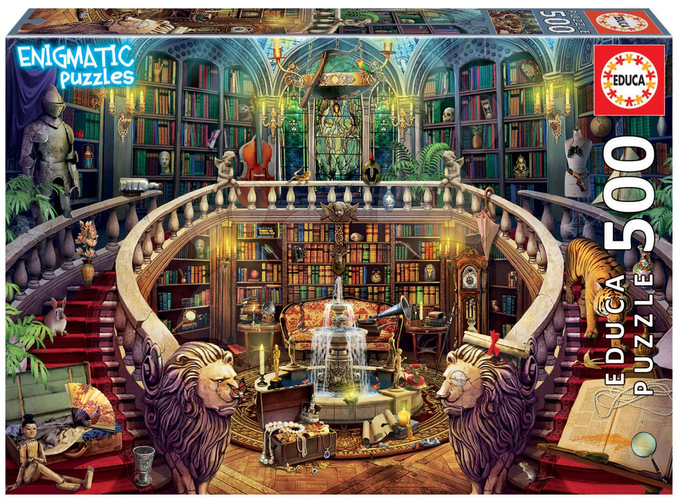 Puzzle Old Library Mysterious Educa 500 dílků a Fix lepidlo od 11 let