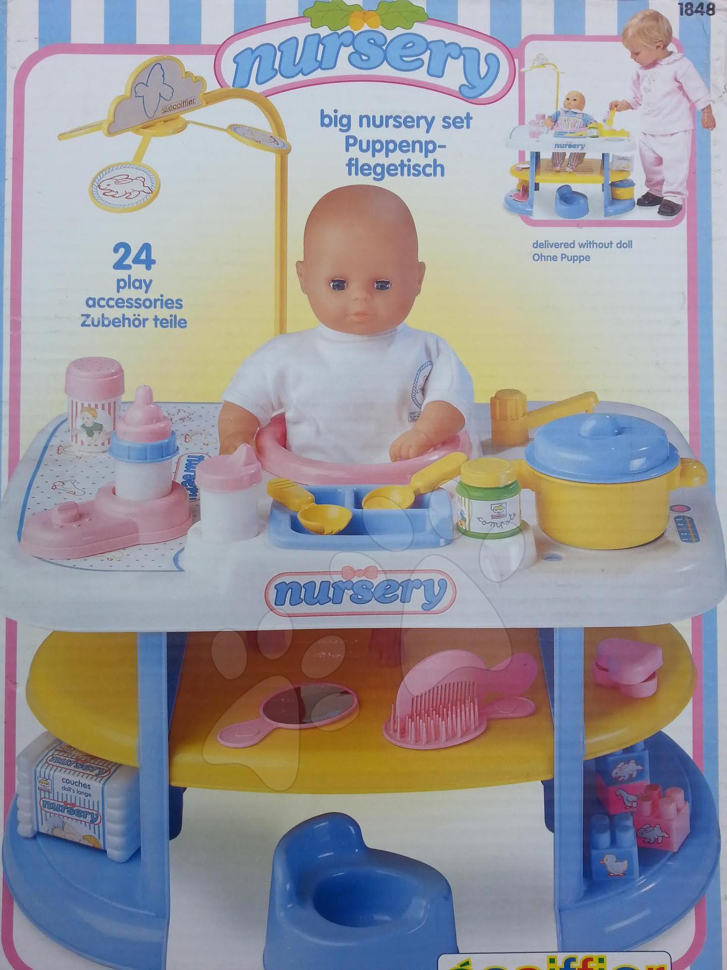 Domčeky pre bábiky - Prebaľovací stôl pre bábiku Nursery Écoiffier s kuchynkou s 24 doplnkami modro-biely od 18 mes
