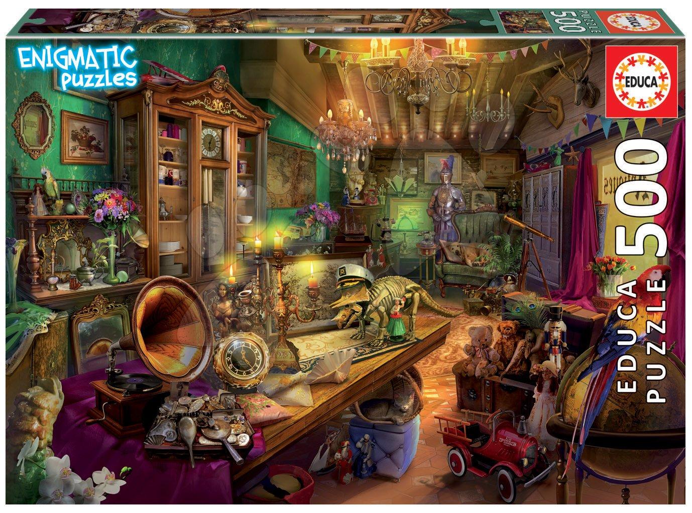 Puzzle Antiques Store Mysterious Educa 500 dílků a Fix lepidlo od 11 let