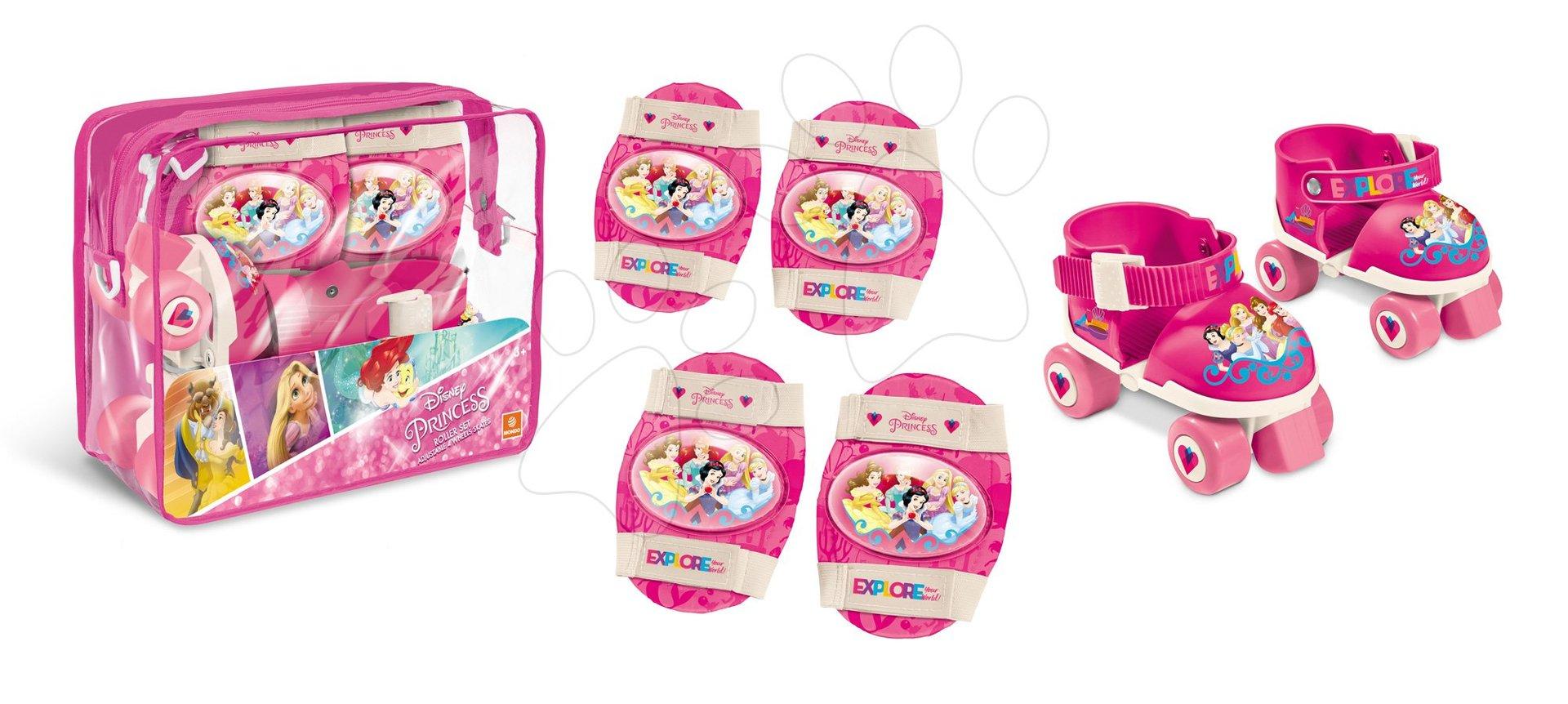 Patine cu rotile pentru copii - Role cu patru roţi Prințesele Mondo cu echipament de protecție, mărimi 22-29 roz