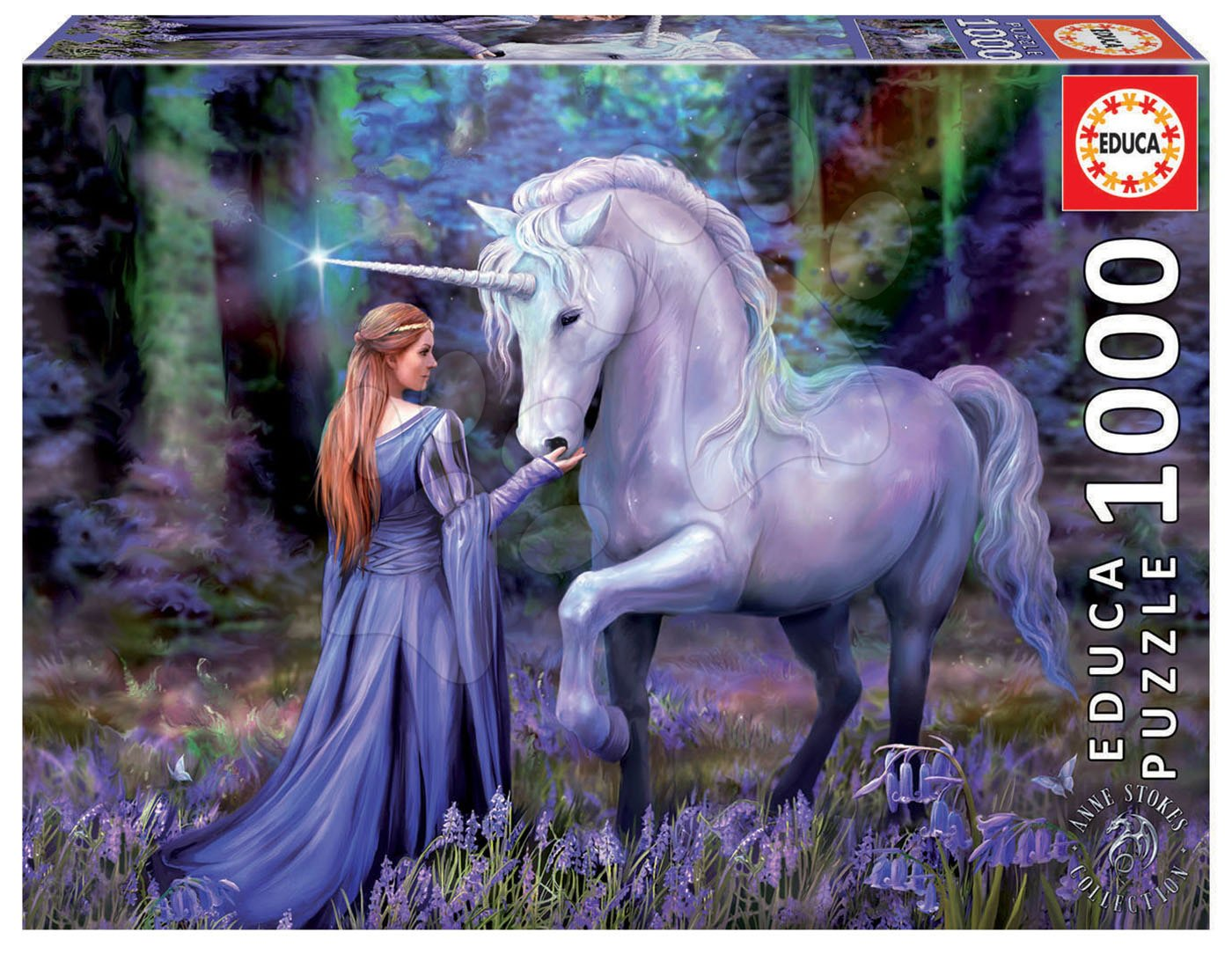 Puzzle Bluebell Woods, Anne Stokes Educa 1000 piese și lipici Fix
