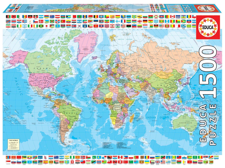 Puzzle Political Worldmap Educa 1500 dielov a Fix lepidlo od 11 rokov