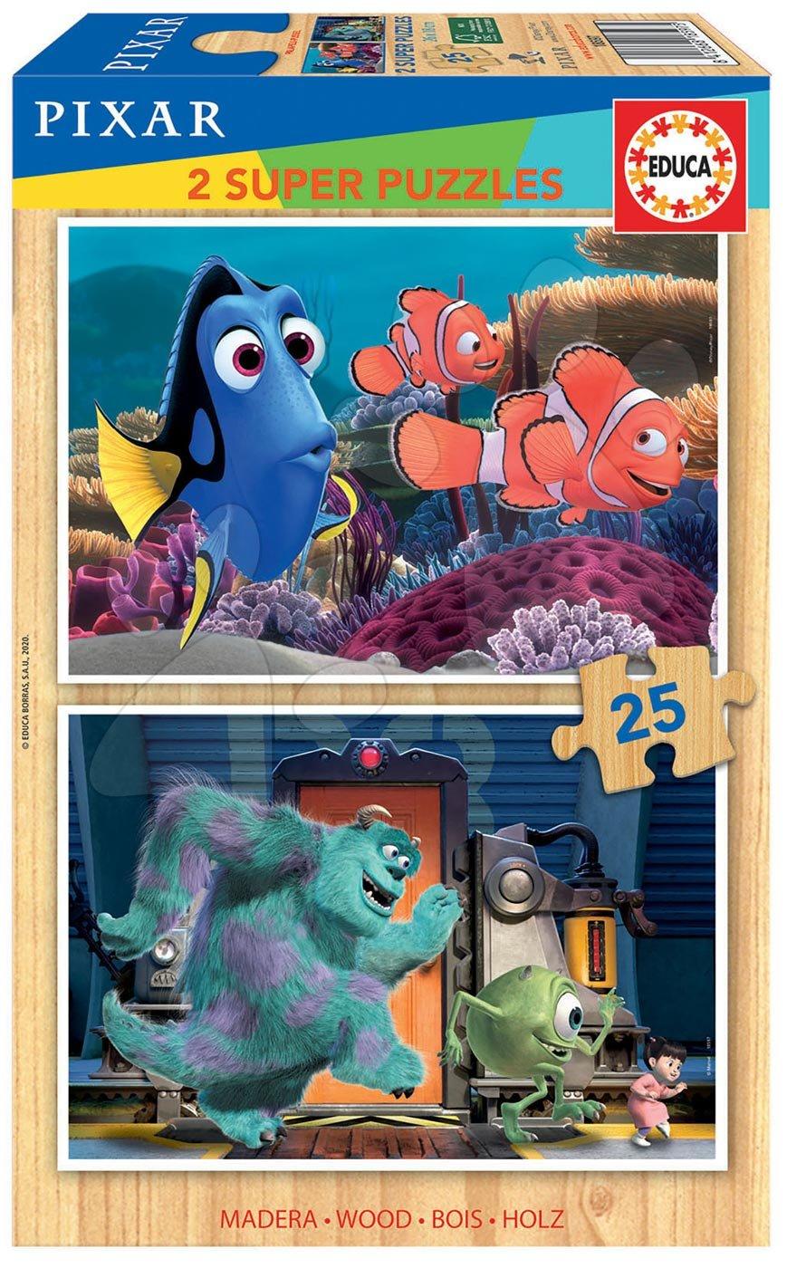 Dřevěné puzzle Pixar Disney Educa 2 x 25 dílků
