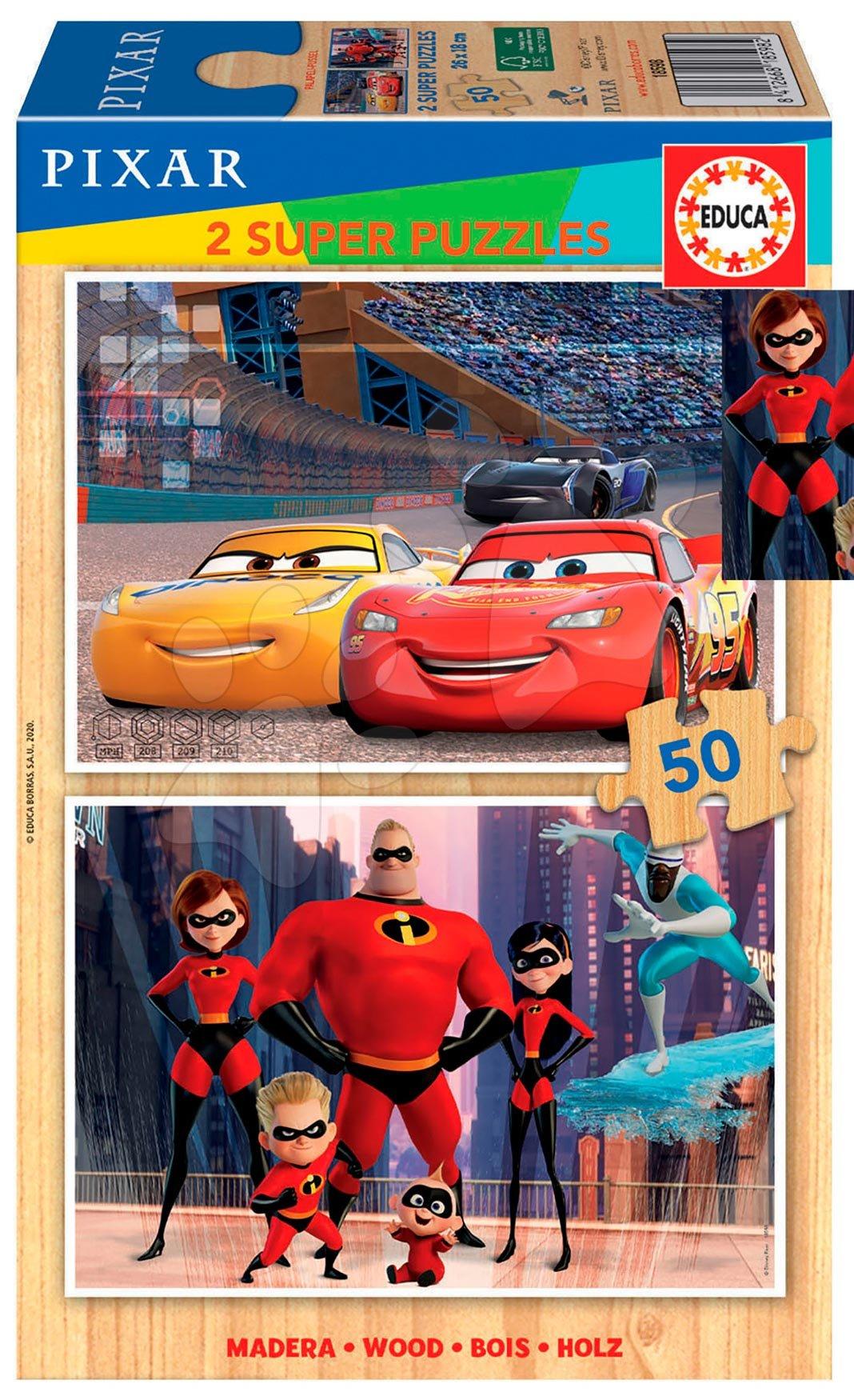 Dřevěné puzzle Pixar Disney Educa 2 x 50 dílků od 5 let