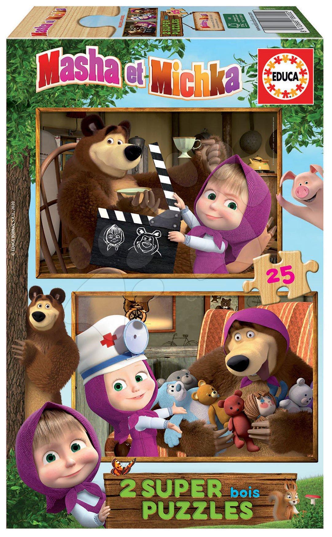 Dřevěné puzzle Masha and the bear Educa 2 x 25 dílků