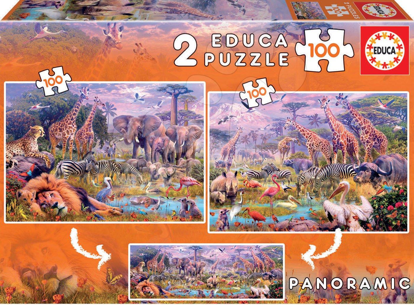 Puzzle panoramatické Divoké zvieratá Educa 2x100 dielov od 6 rokov