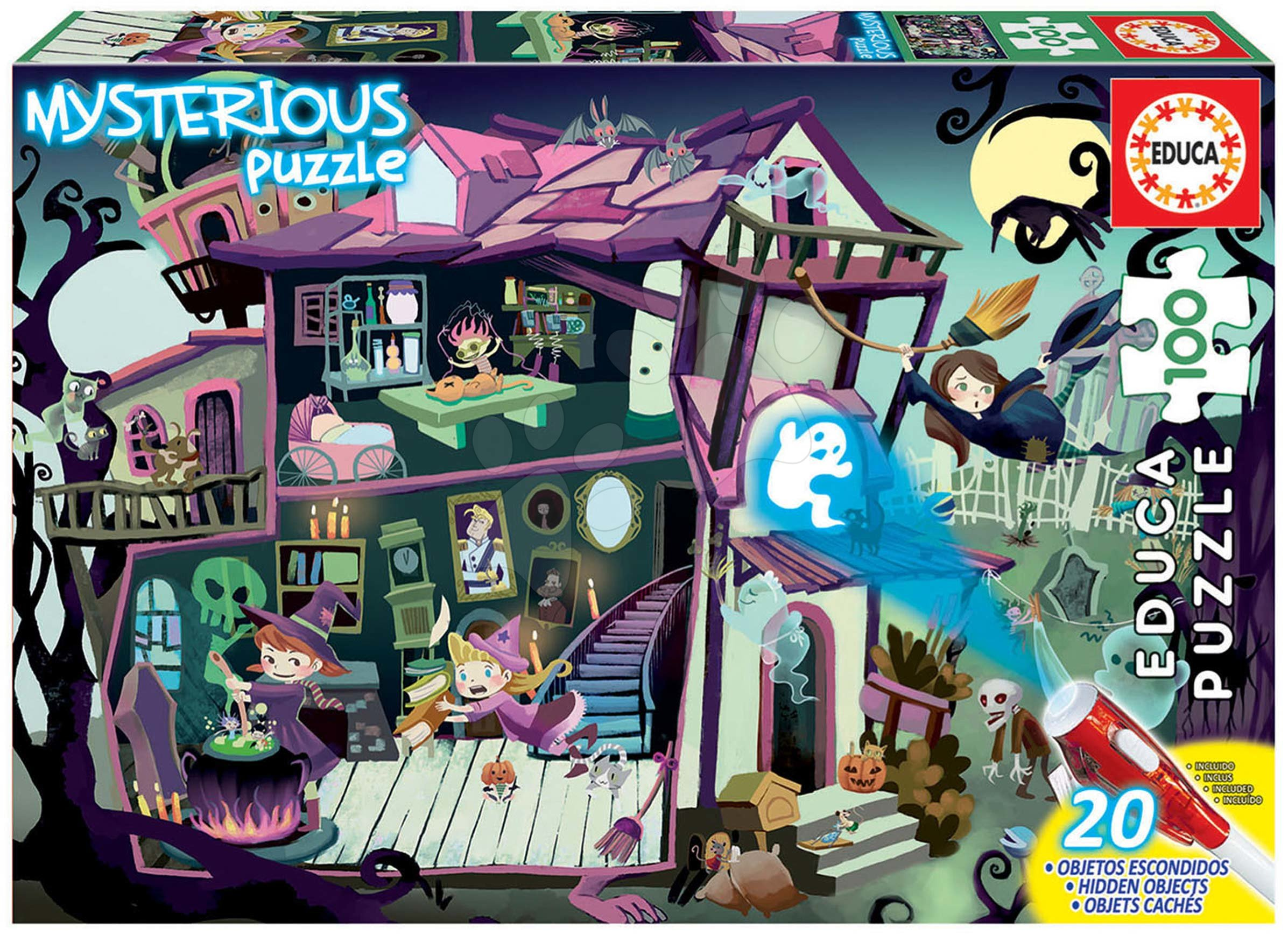 Puzzle Mysterious Ghost House Educa 100 dílků – světélkující strašidla při lampě od 6 let