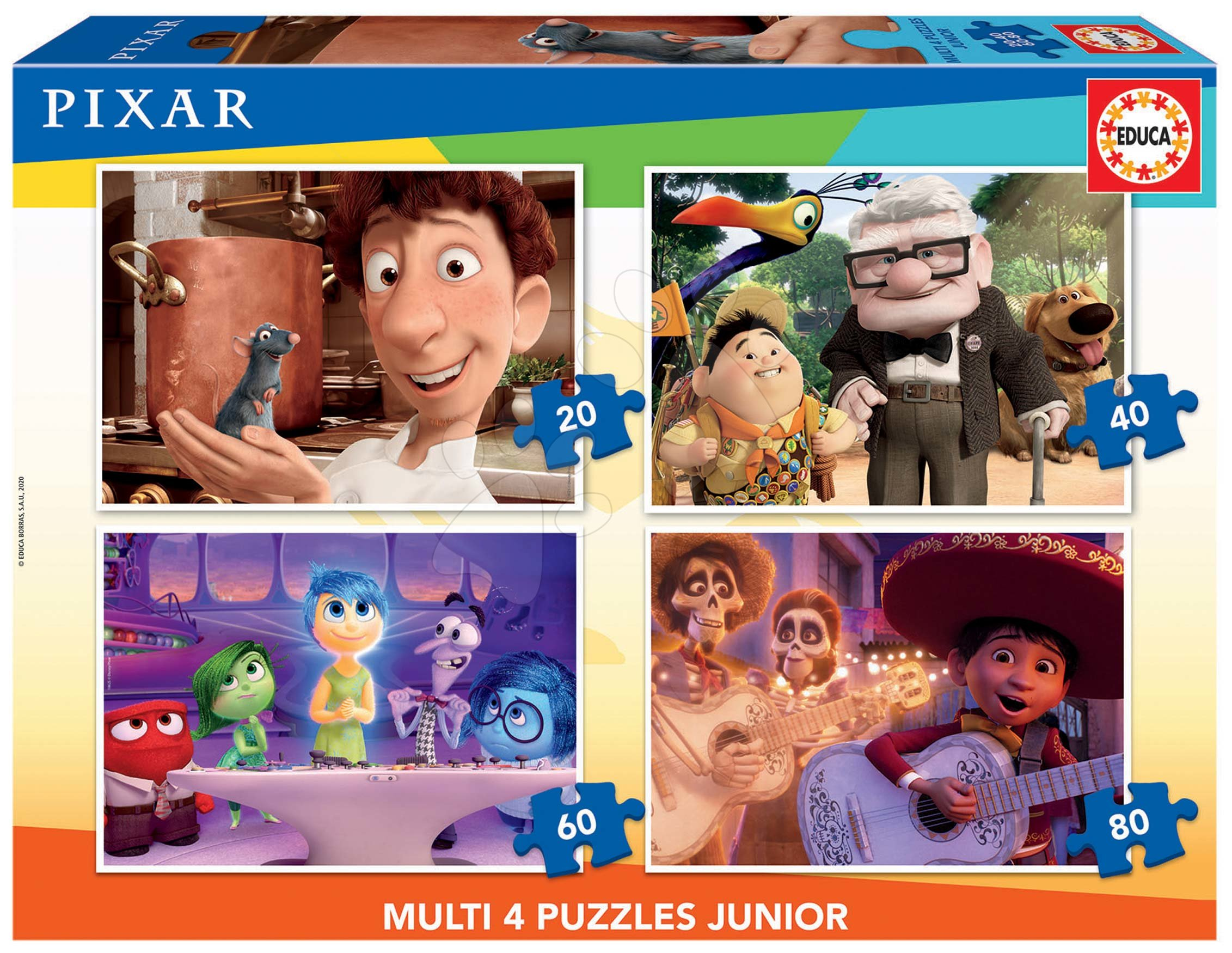 Puzzle Pixar 2 Disney Multi 4 Junior Educa 20-40-60-80 dílků od 4 let