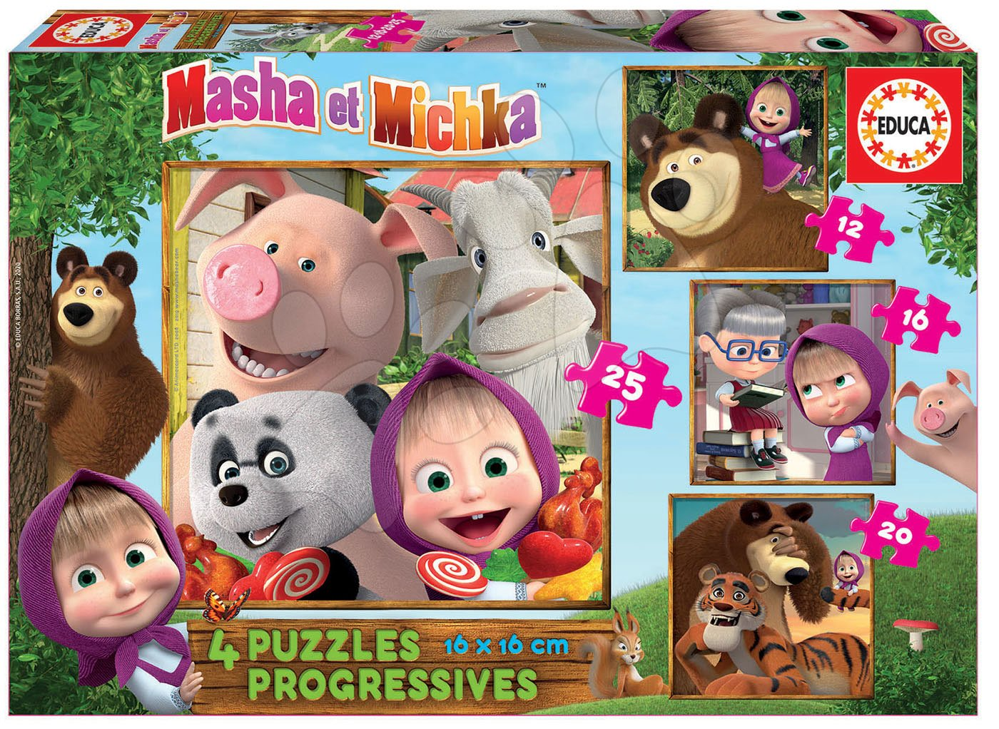 Puzzle Masha and the Bear Progressive 4v1 Educa 12-16-20-25 dielov EDU18642