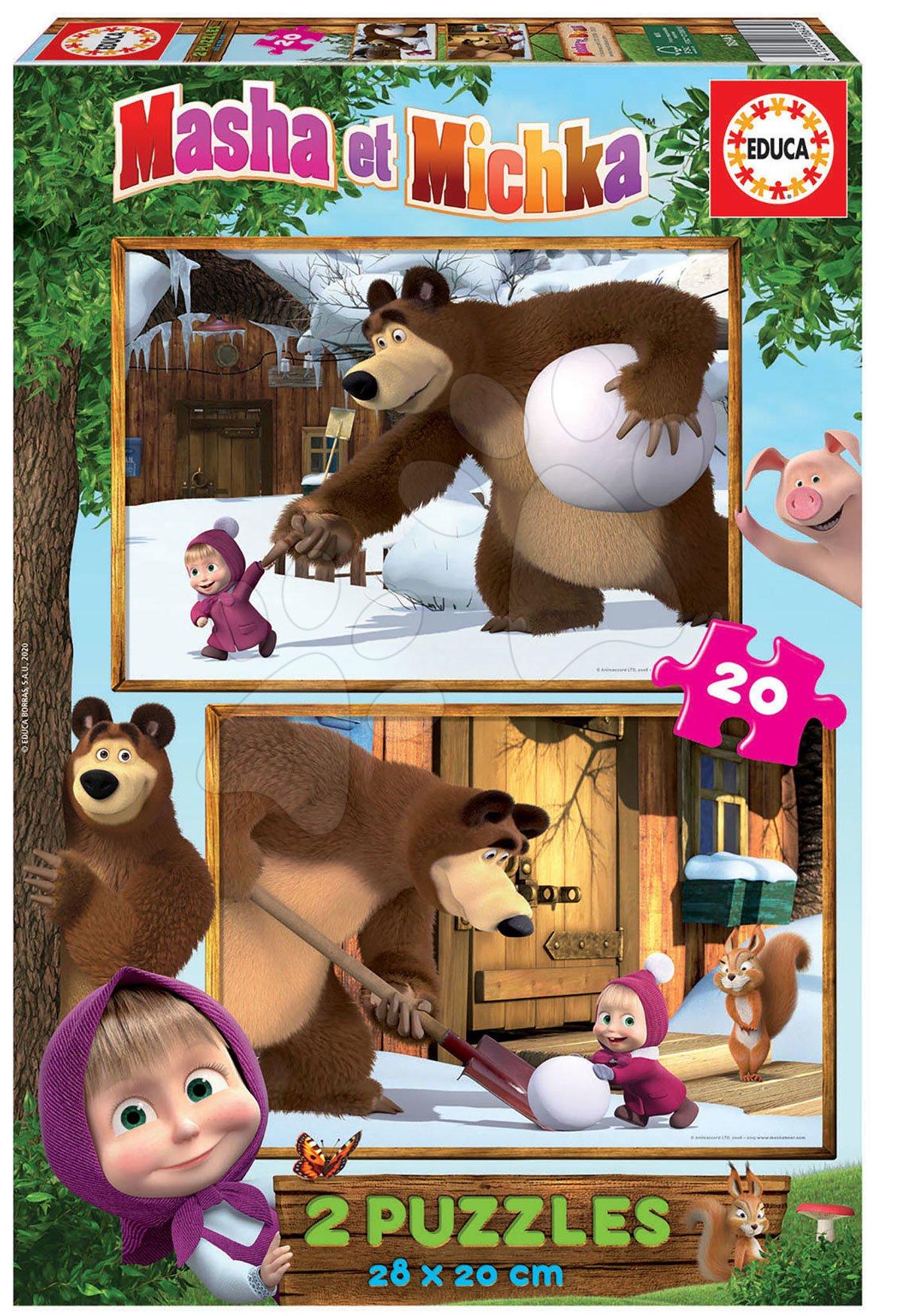Puzzle Masha and the bear Educa 2 x 20 dílků od 4 let