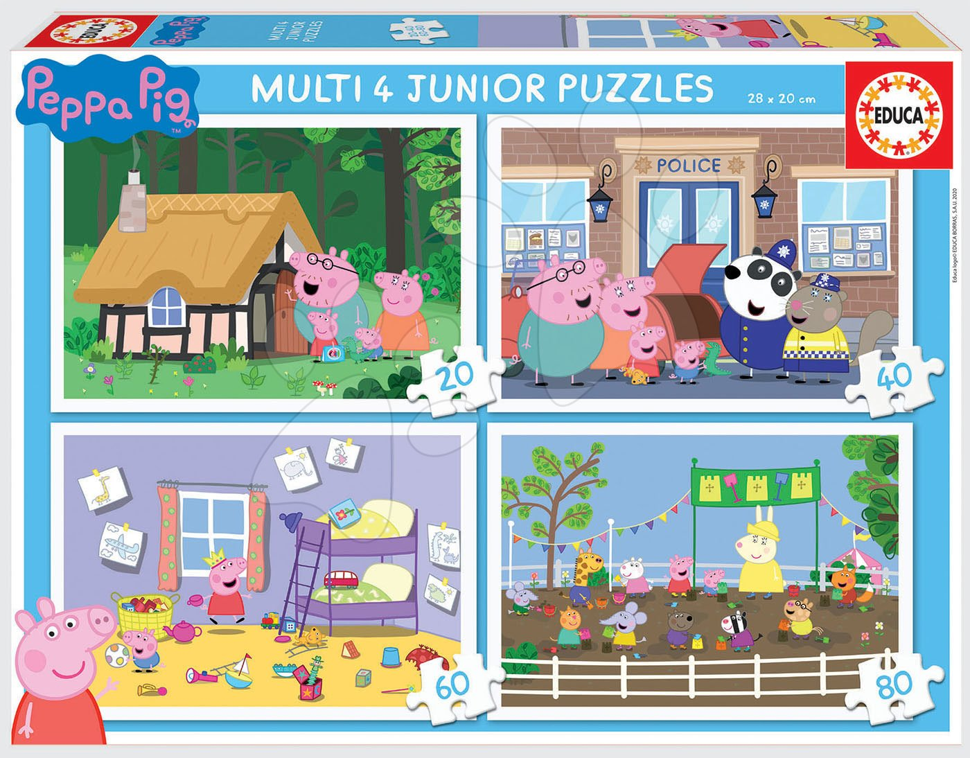 Puzzle Peppa Pig Multi 4 Junior Educa 20-40-60-80 dielov od 4 rokov