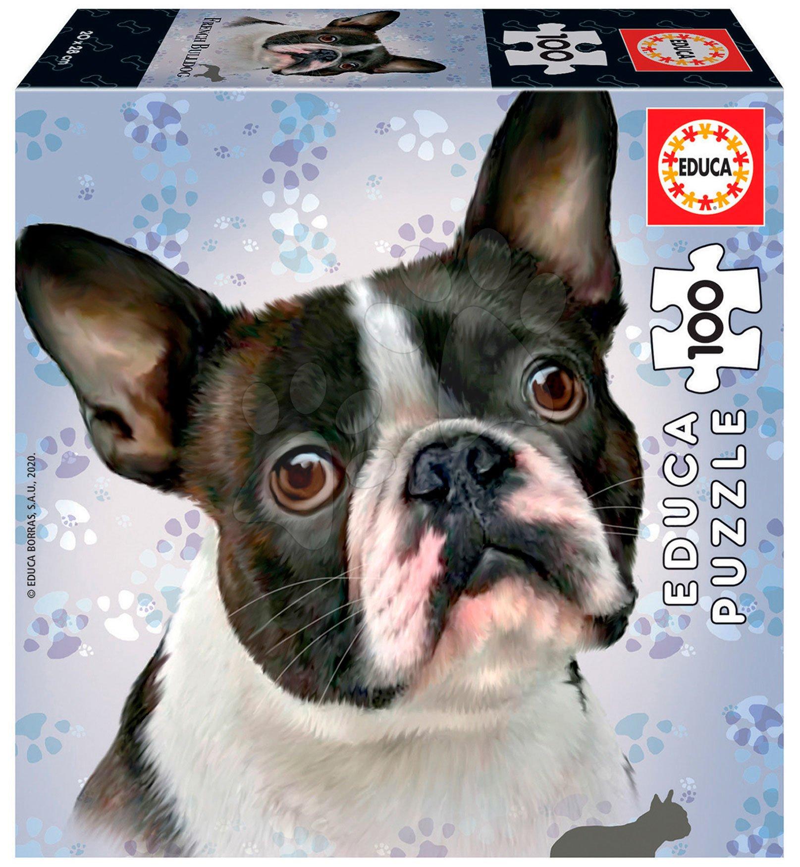 Puzzle Mini Box French Bulldog Educa 100 dielov od 6 rokov