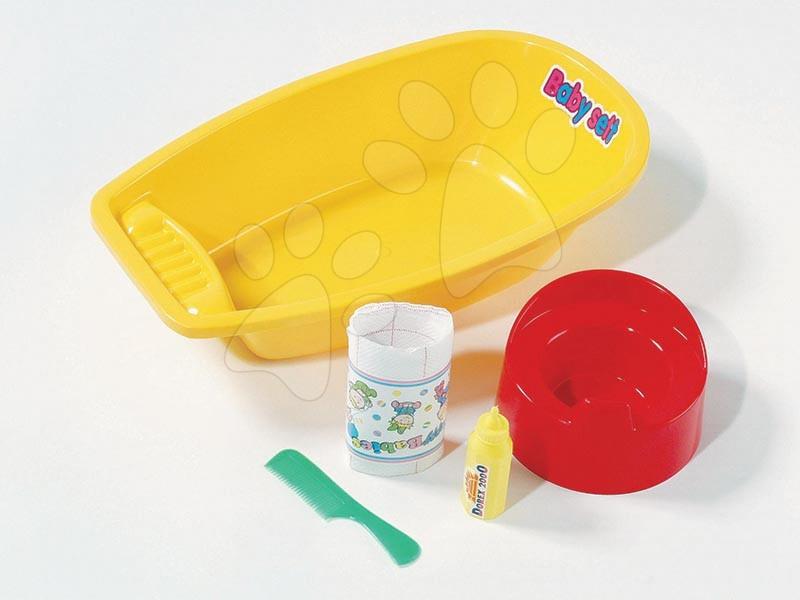 Vană mică pentru spălarea păpuşilor Dohány cu 4 accesorii galben