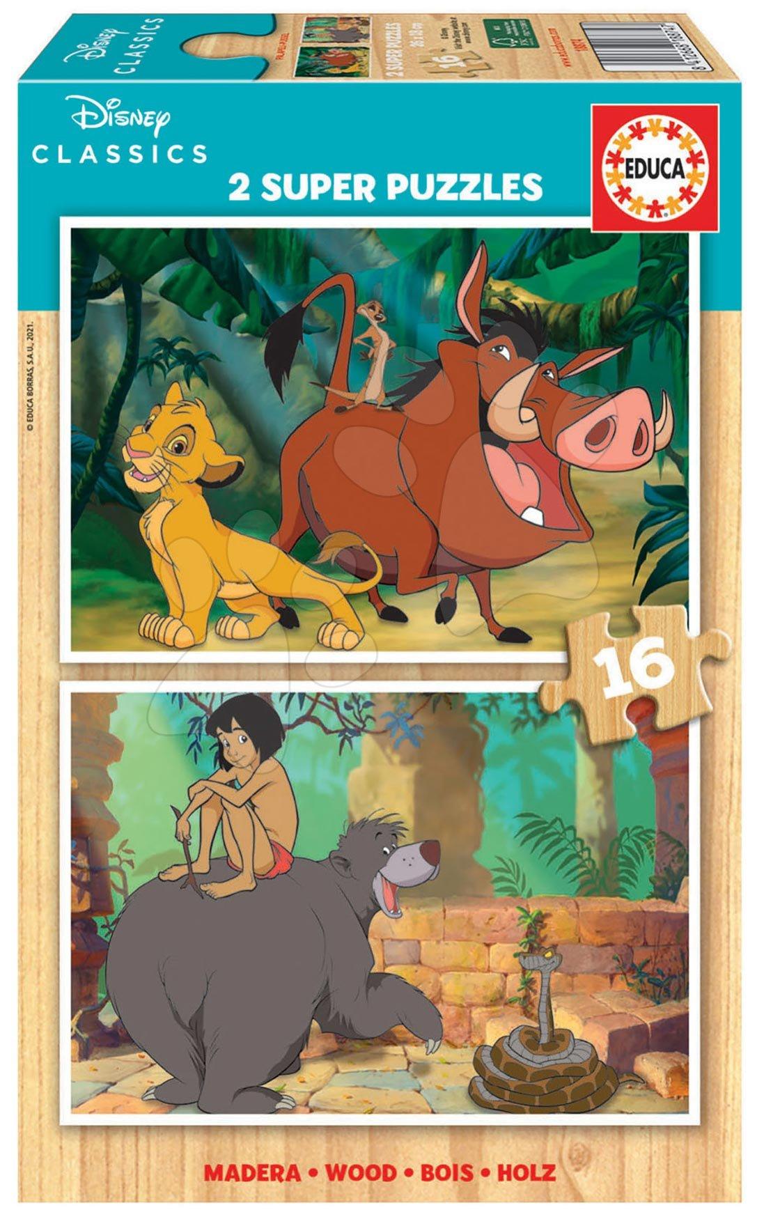 Drevené puzzle Disney Classics Jungle Book Educa 2x16 dielov