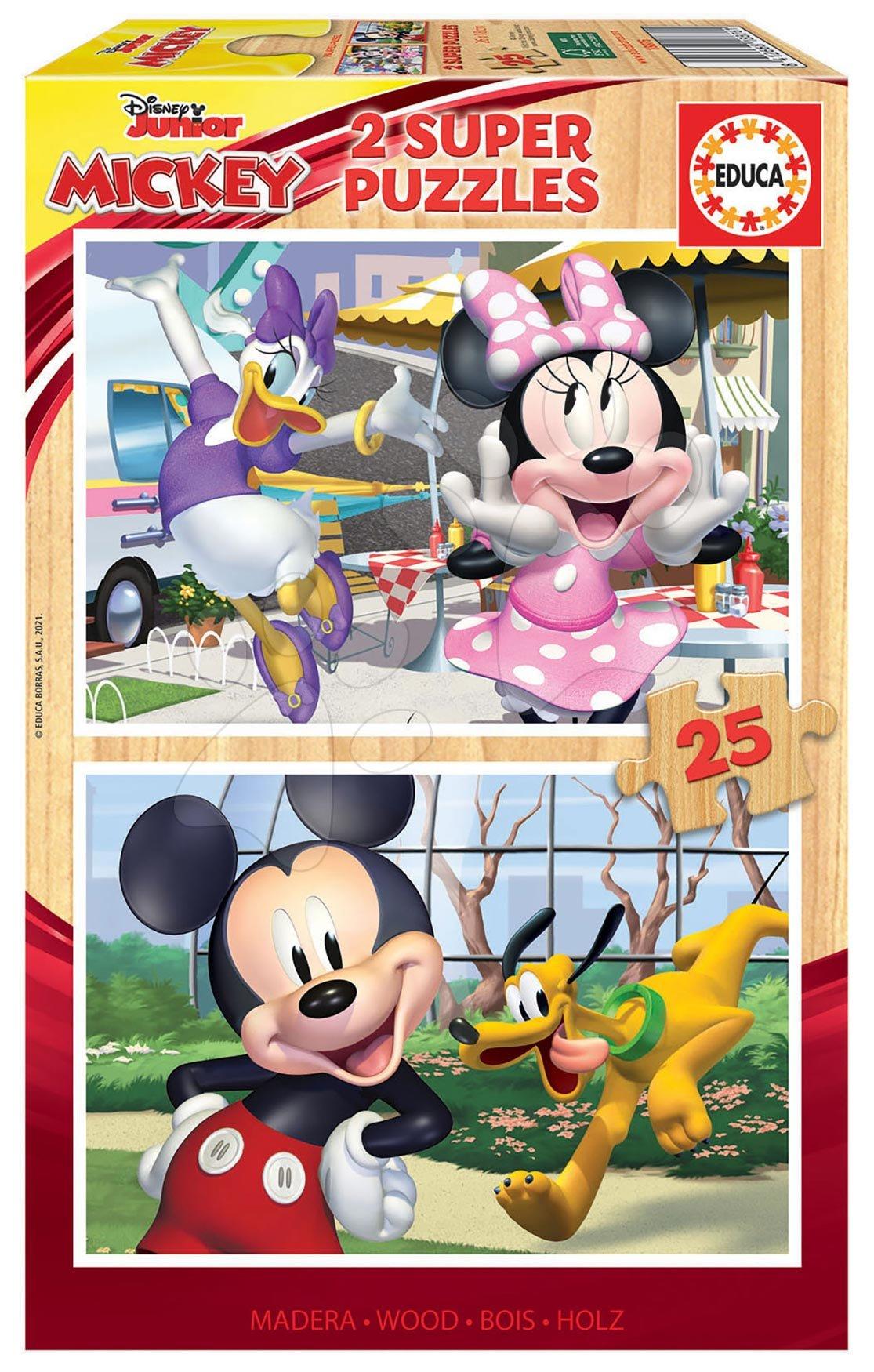 Drevené puzzle Mickey&Friends Educa 2x25 dielov od 4 rokov