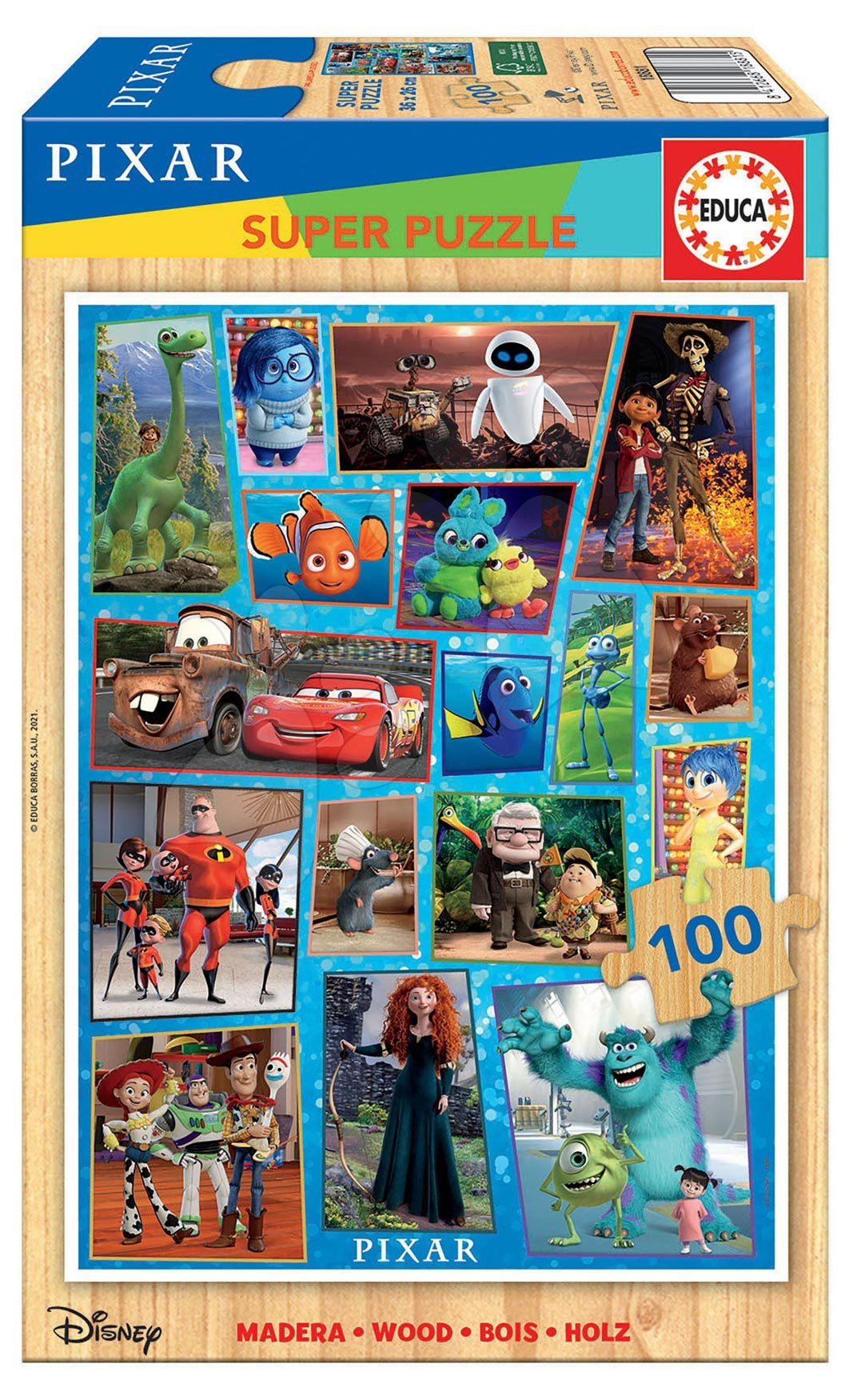 Dřevěné puzzle Pixar Disney Educa 100 dílů od 5 let