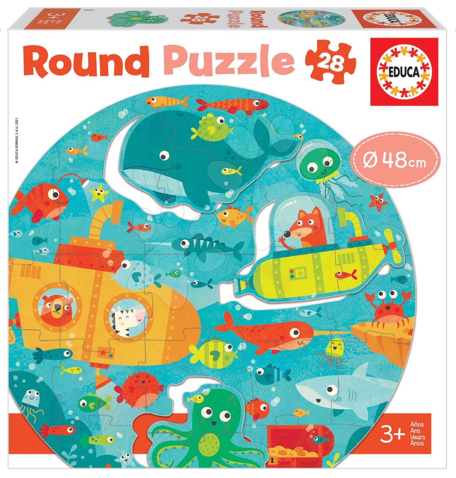 Dětské puzzle do 100 dílků - Puzzle pro nejmenší kulaté Under the Sea Round Educa zvířátka v moři 28 dílů 48 cm průměr