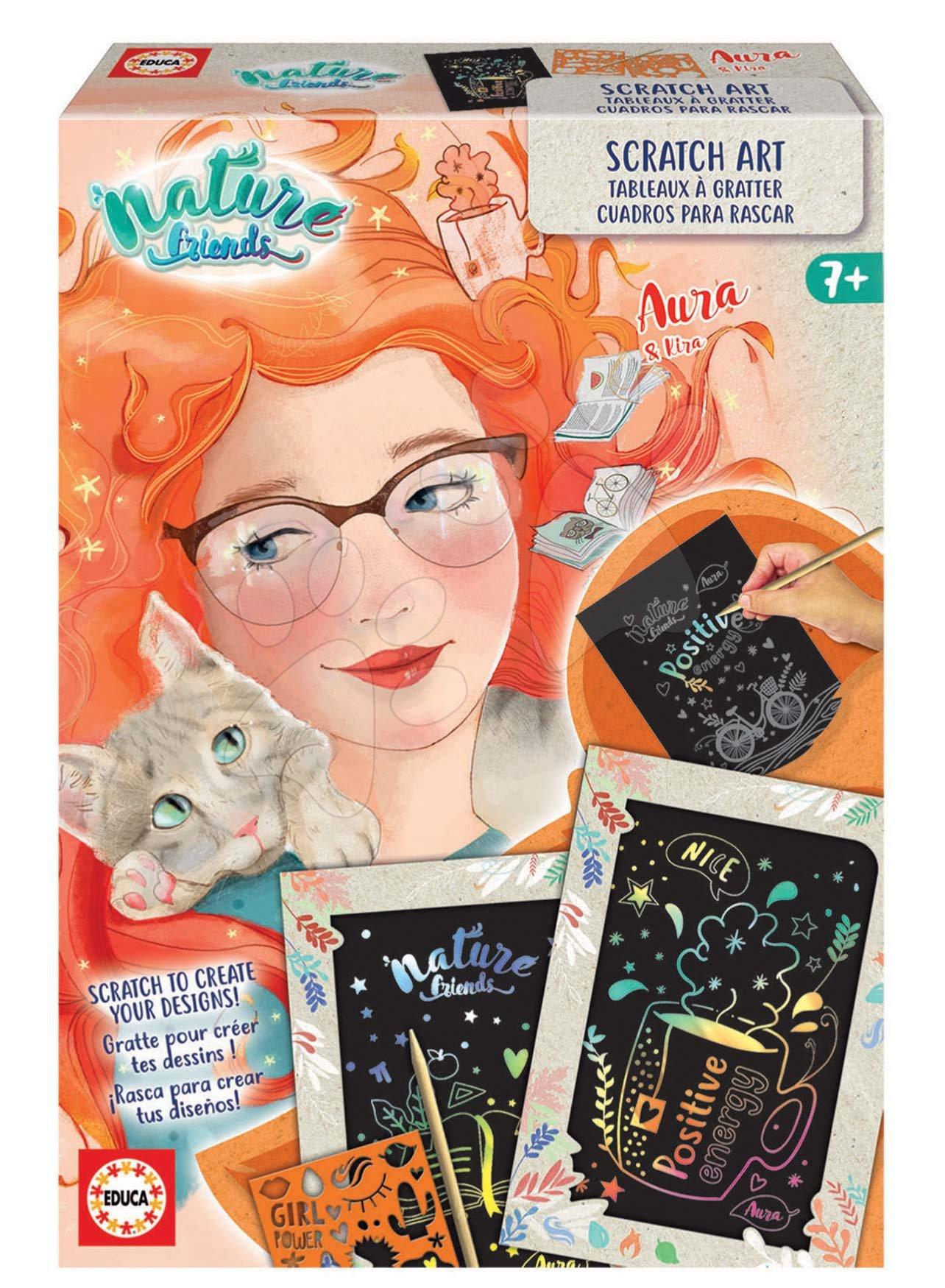 Kreatívne tvorenie Nature Friends Scratch Art Educa ryšavá princezná vyškrabávacie obrázky so šablónou od 7 rokov