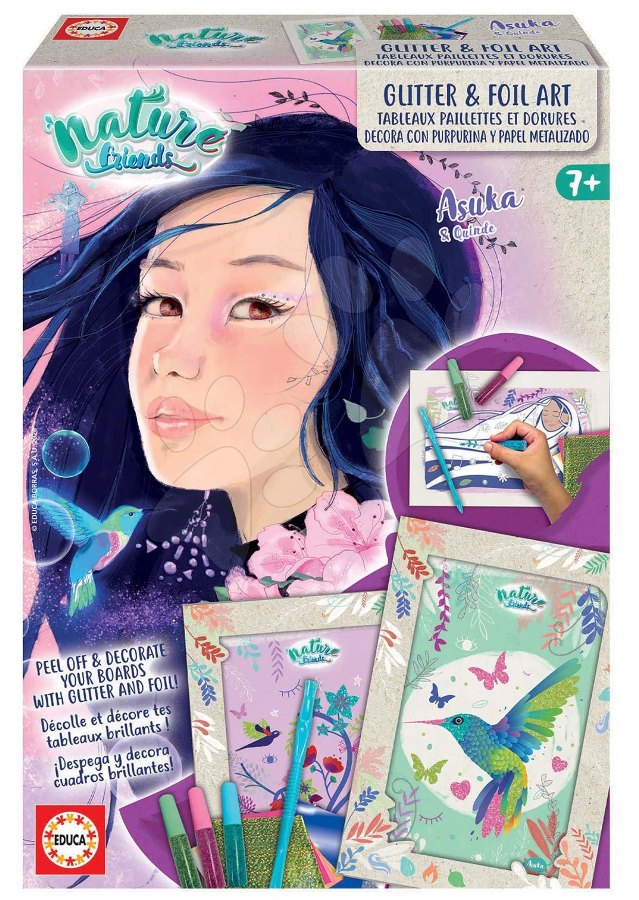 Kreatívne tvorenie Nature Friends Glitter&Foil Art Educa exotická princezná trblietavé obrázky s fóliami od 7 rokov