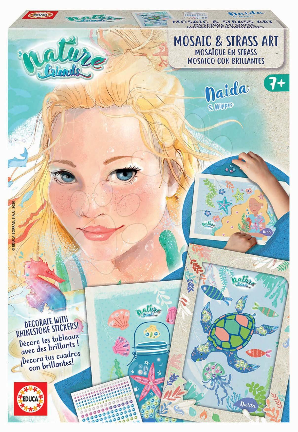 Kreatívne tvorenie Nature Friends Mosaic&Strass Art Educa severná princezná mozaikové obrázky s kamienkami od 7 rokov