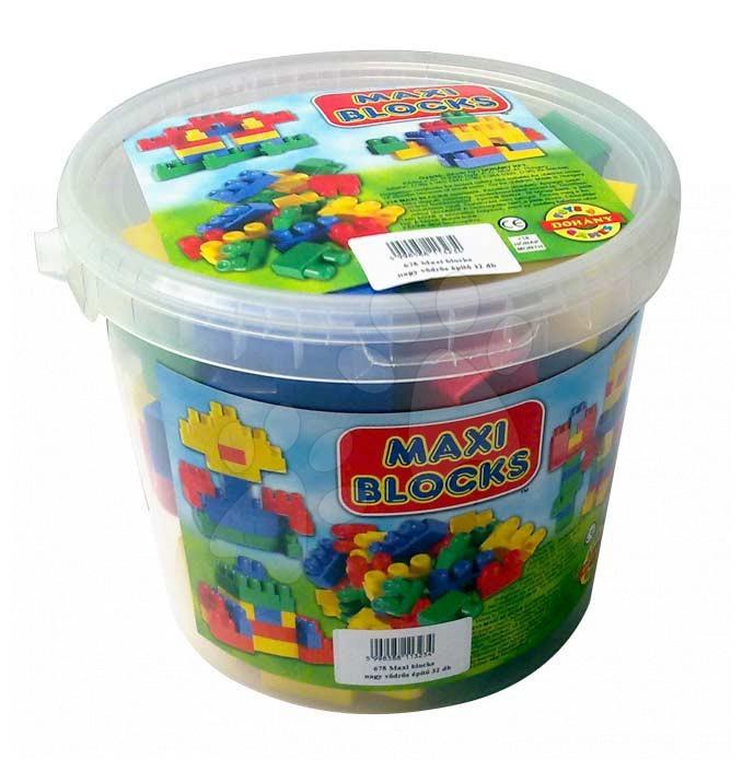 Cuburi de construit Dohány - Cuburi de jucărie Maxi Blocks Dohány în găleată 32 de piese de la 18 luni