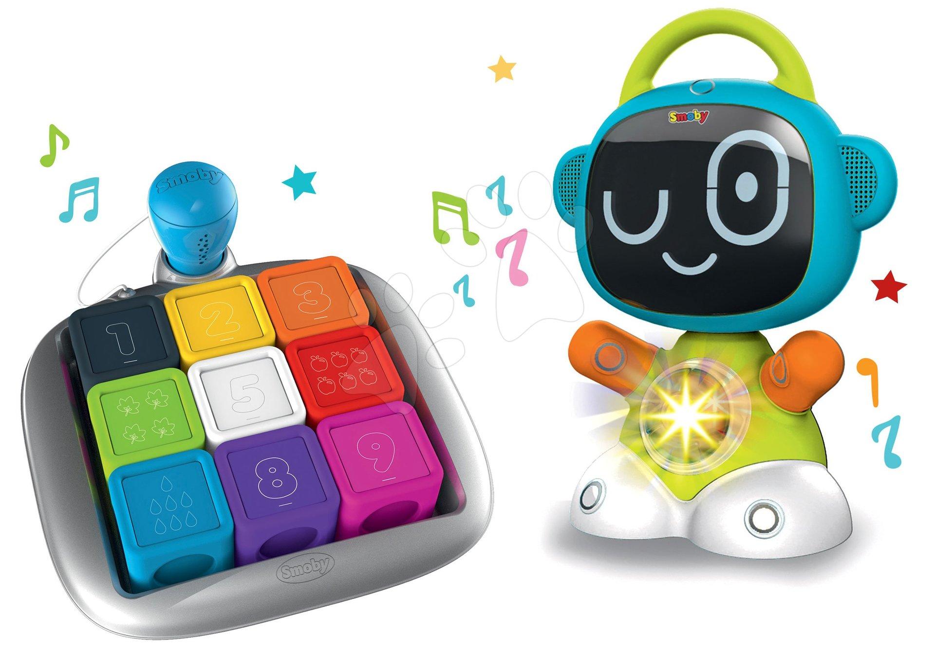 Hračky pro miminka - Set interaktivní Robot TIC Smart Smoby s 3 naučnými hrami a chytrá hra kostky