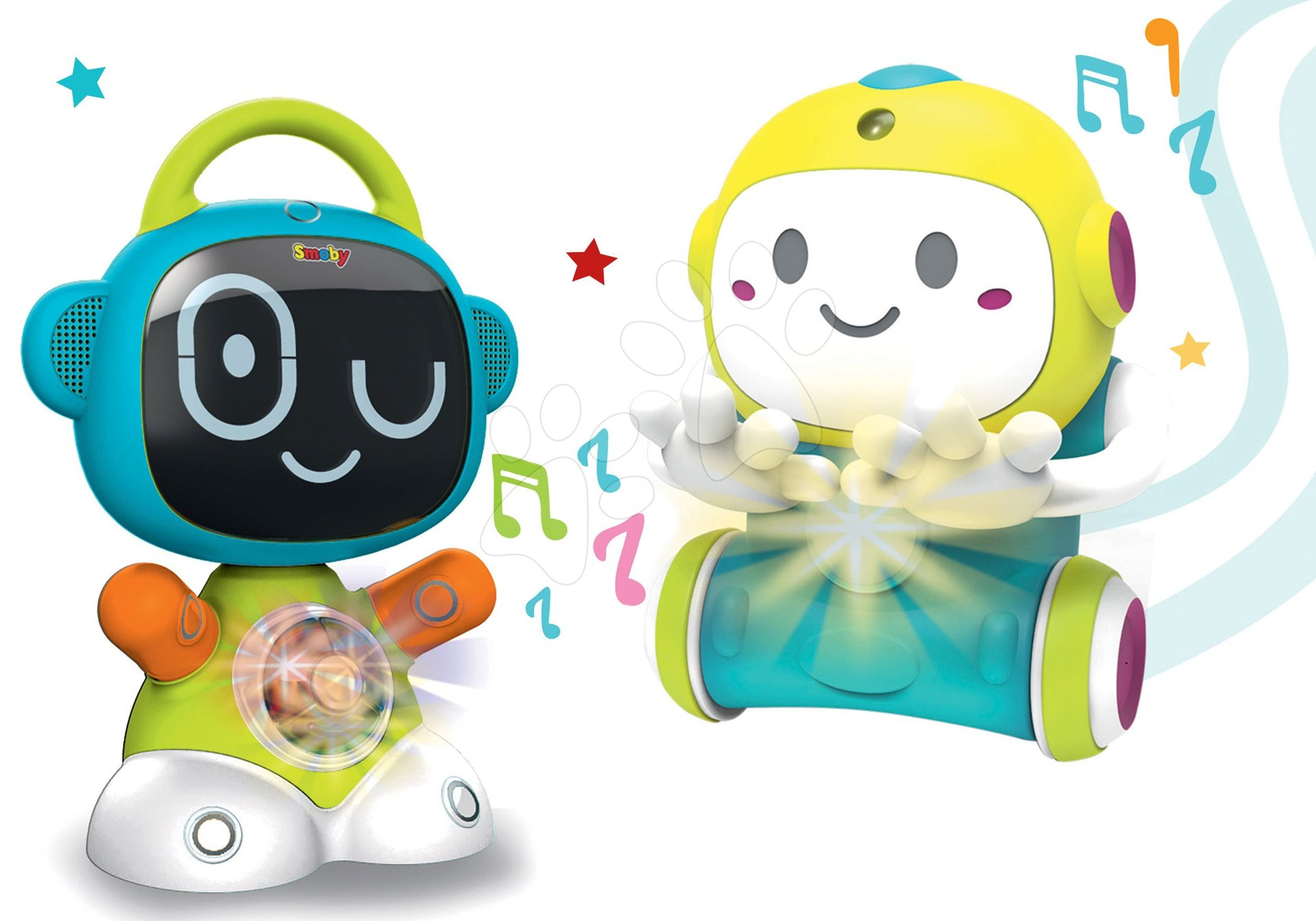 Igrače za dojenčke - Komplet interaktivni robot Robot TIC Smart Smoby s 3 poučnimi igrami in igra skrivalnic 1,2,3 s senzorjem gibanja