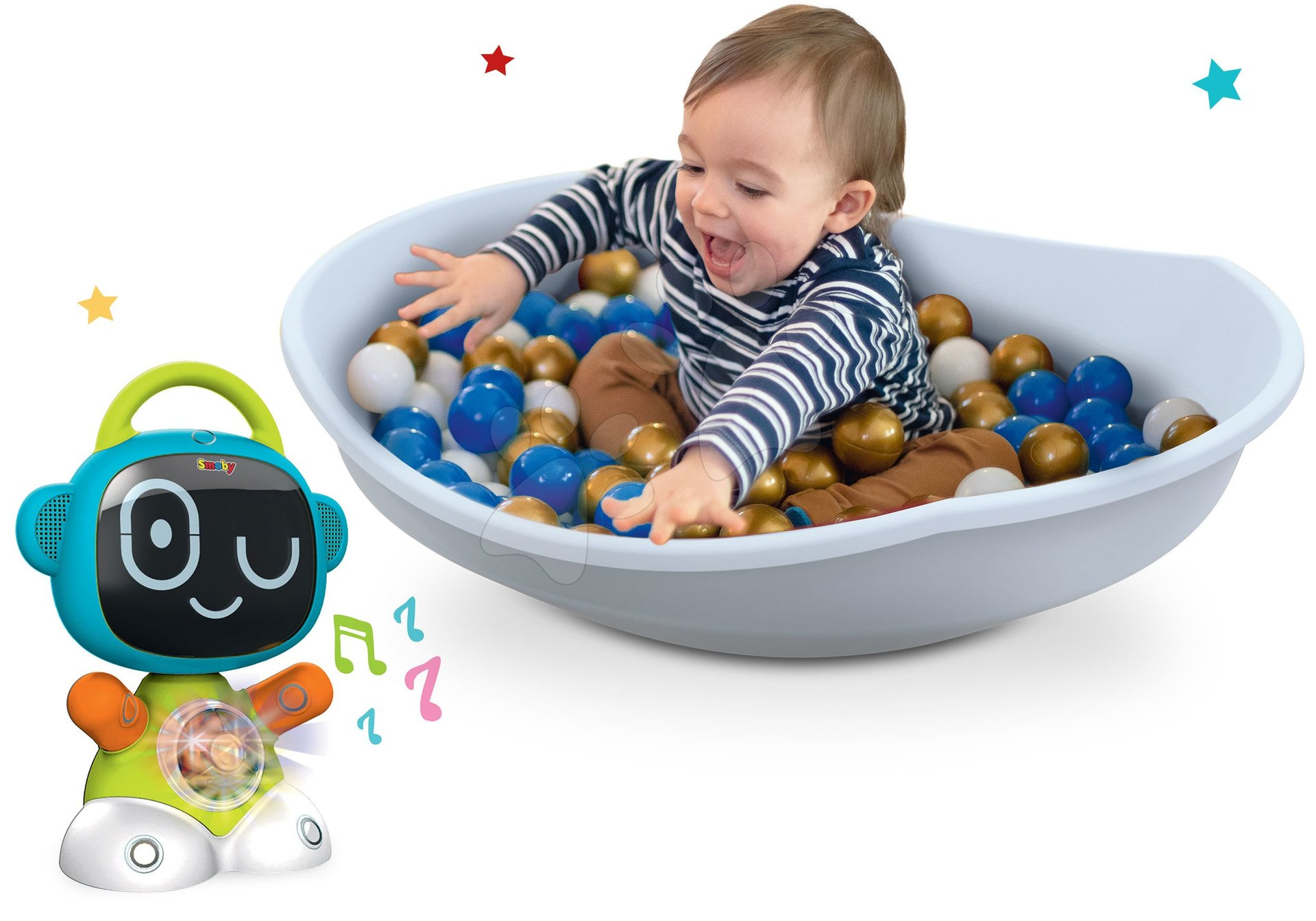 Hračky pro miminka - Set interaktivní Robot TIC Smart Smoby s 3 naučnými hrami a balanční kužel s polštářem Cosy