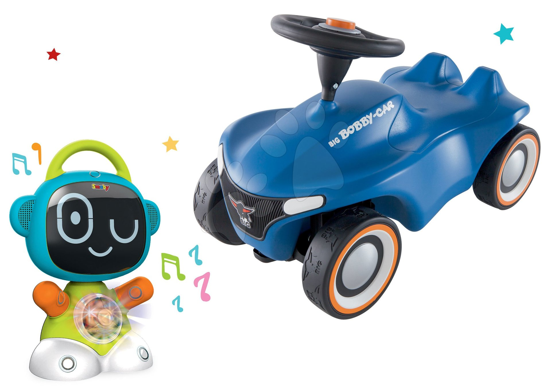 Set interaktívny Robot TIC Smart Smoby s 3 náučnými hrami a odrážadlo auto Bobby Car Neo Blue