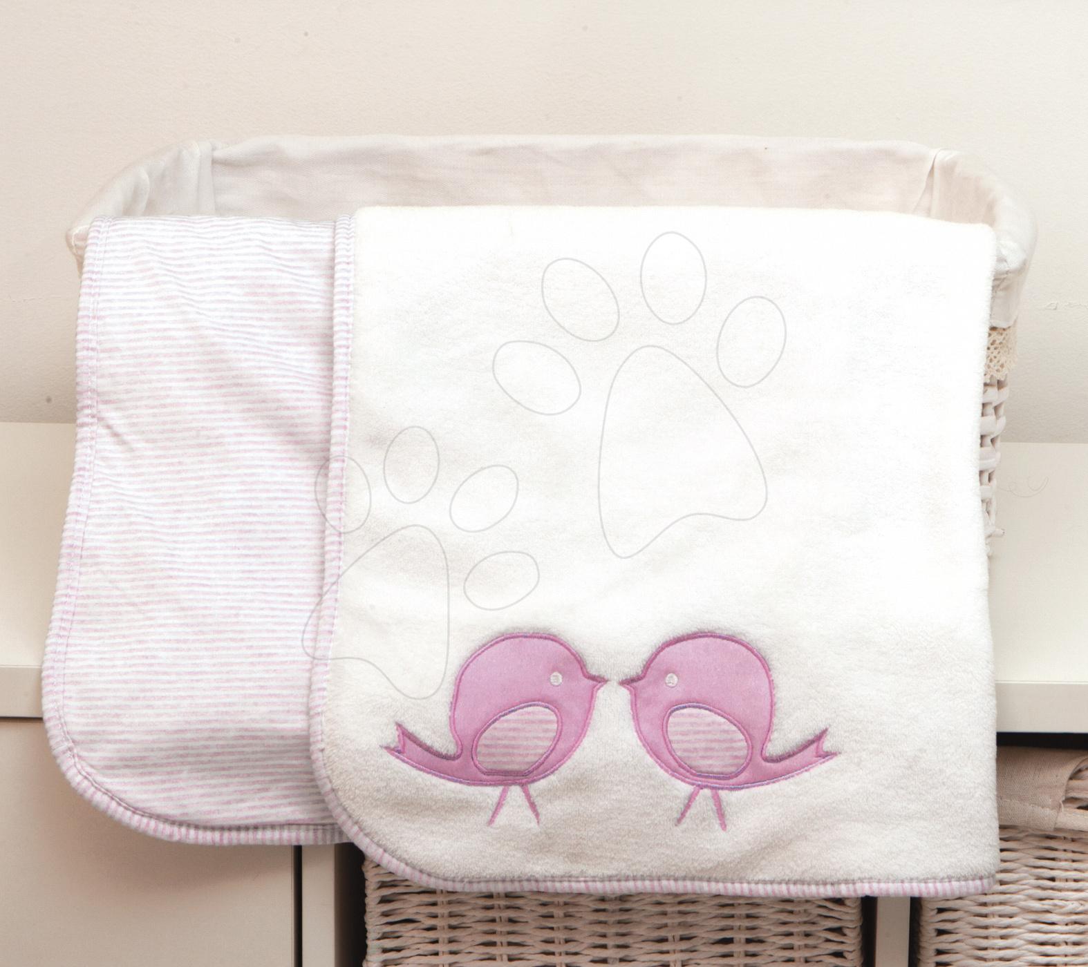 Oboustranná deka pro nejmenší Classic toTs-smarTrike ptáčci  100% jersey bavlna růžová