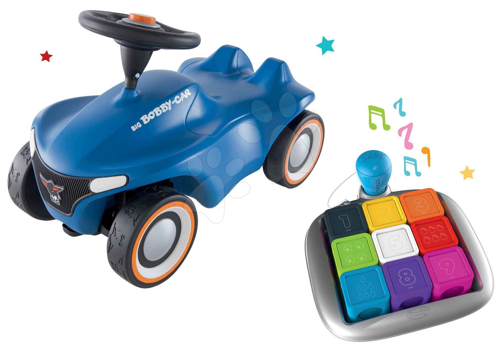 Set Interaktívna hra Clever Cubes Smart Smoby a odrážadlo auto Bobby Car Neo Blue