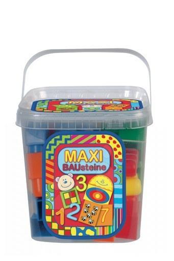 Otroške kocke Dohány - Otroške kocke Maxi Blocks – številke Dohány v vedru 34 delov od 18 mes