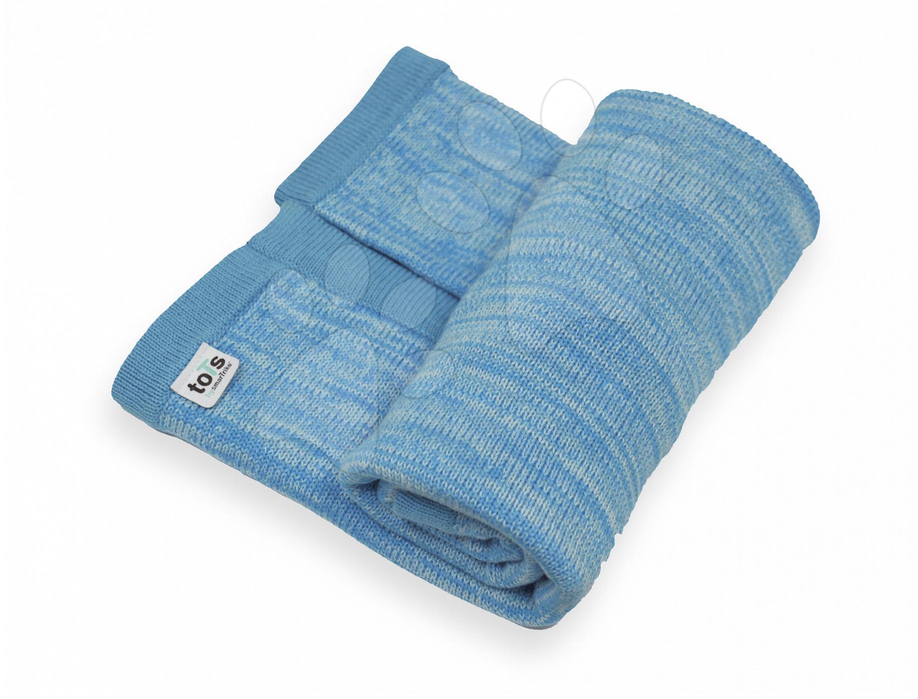 Pletená deka pro nejmenší Joy toTs-smarTrike 100% přírodní bavlna modrá od 0 měsíců