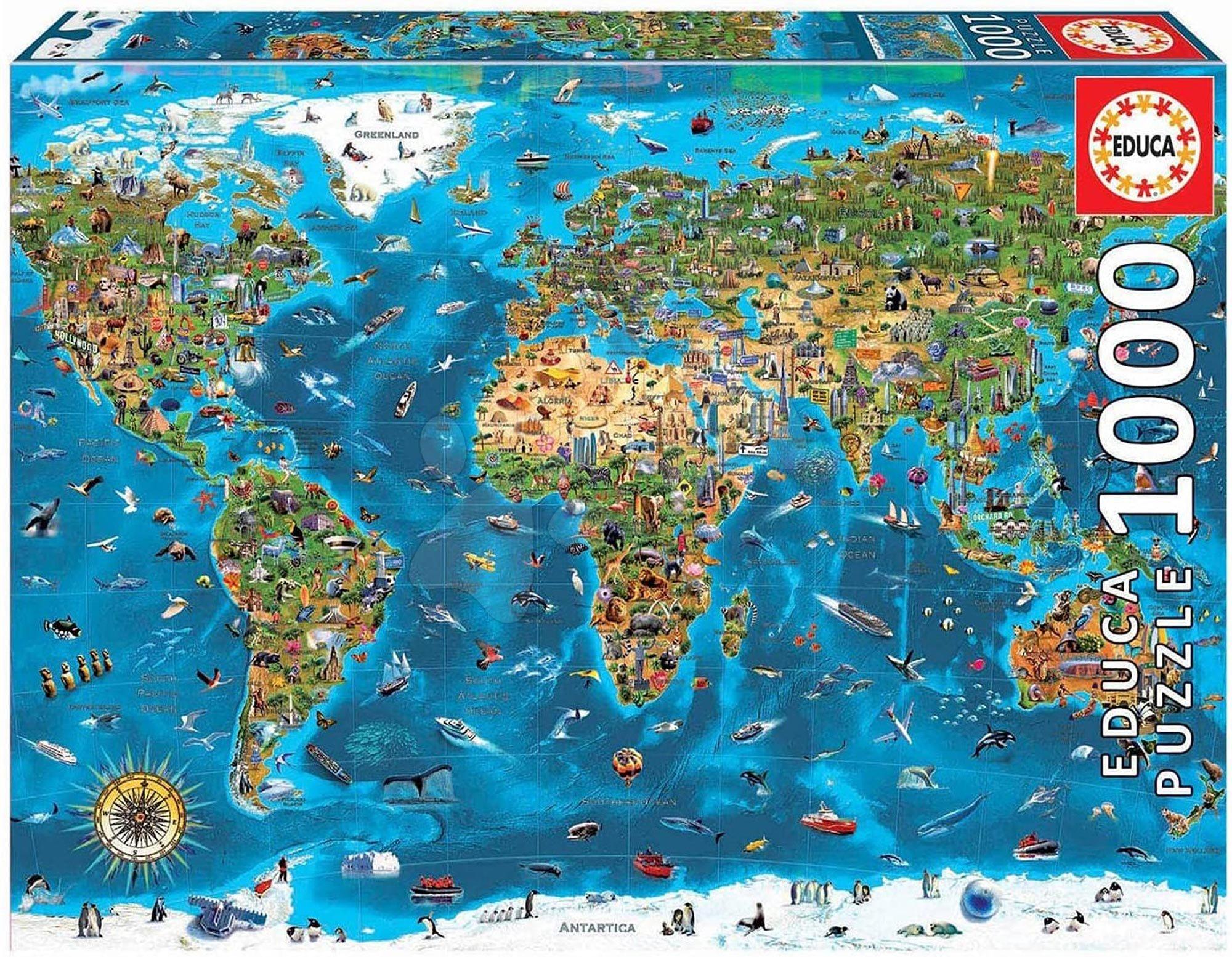 Puzzle Wonders of the World Educa 1000 dielov a Fix lepidlo v balení od 11 rokov