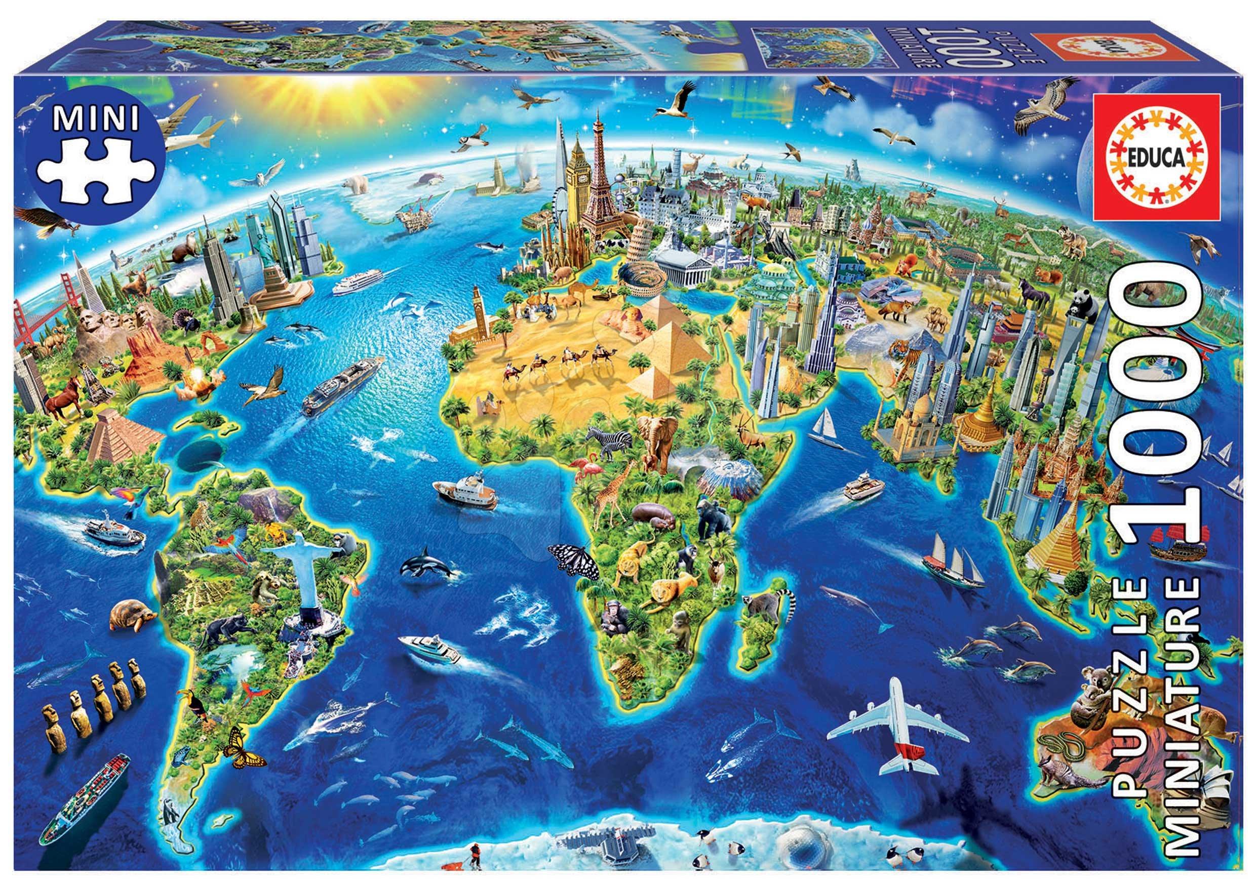 Puzzle Miniature series World Landmarks Educa 1000 piese și lipici Fix de la 11 ani