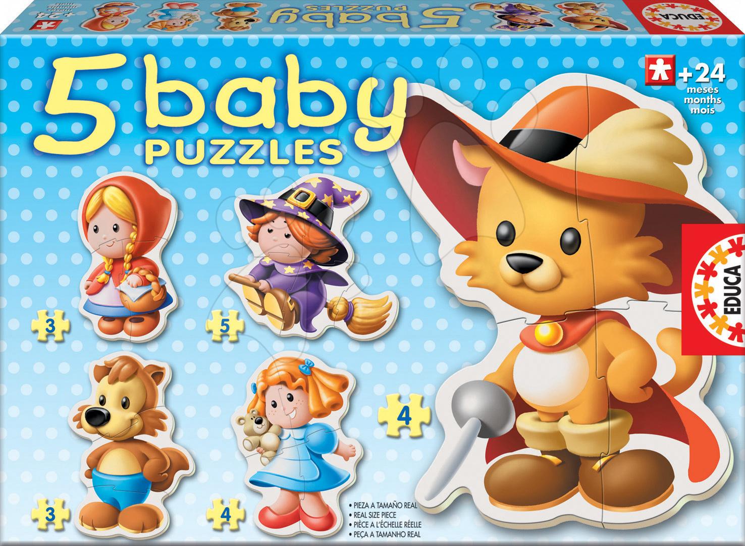 Puzzle pre najmenších - Baby puzzle Rozprávkové postavičky Educa 5-obrázkové od 24 mes