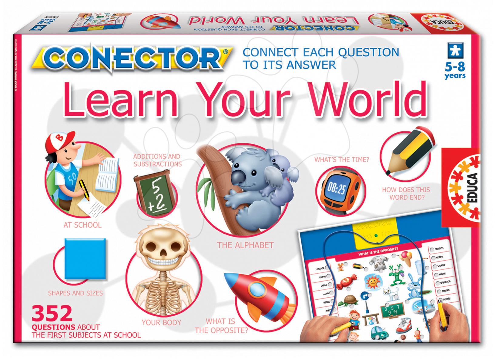 Cudzojazyčné spoločenské hry - Náučná hra Conector Learn Your World Educa 352 otázok v angličtine od 5 rokov