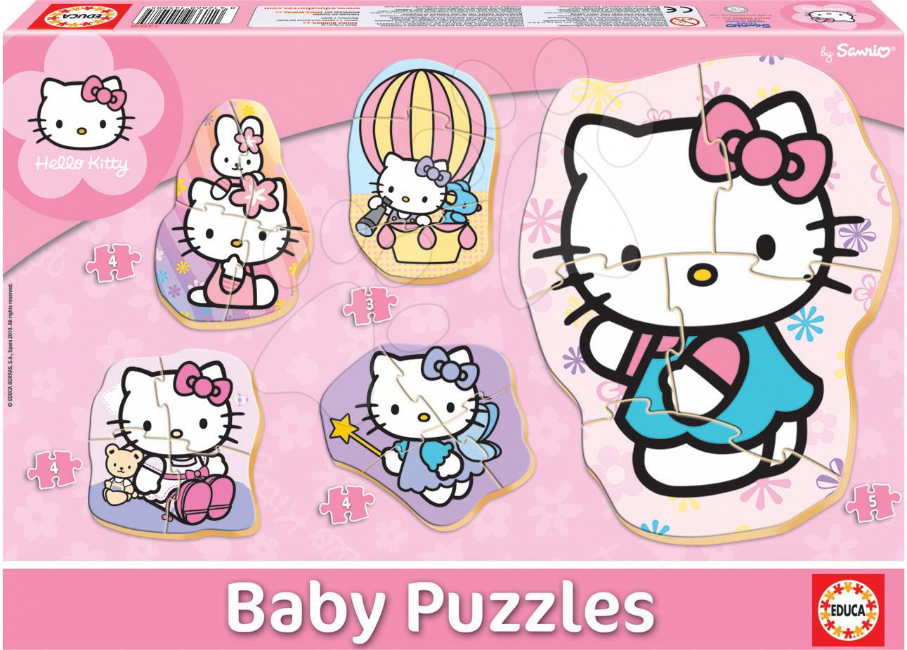 Puzzle pentru copii  - Puzzle bebe Hello Kitty Educa cu 5 imagini diferite de la 24 luni