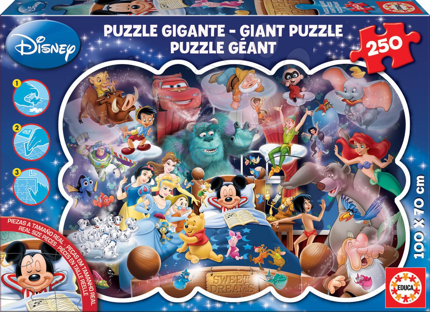Detské skladacie koberce - Puzzle Giant Mickeyho sny Educa 250 dielov od 8 rokov