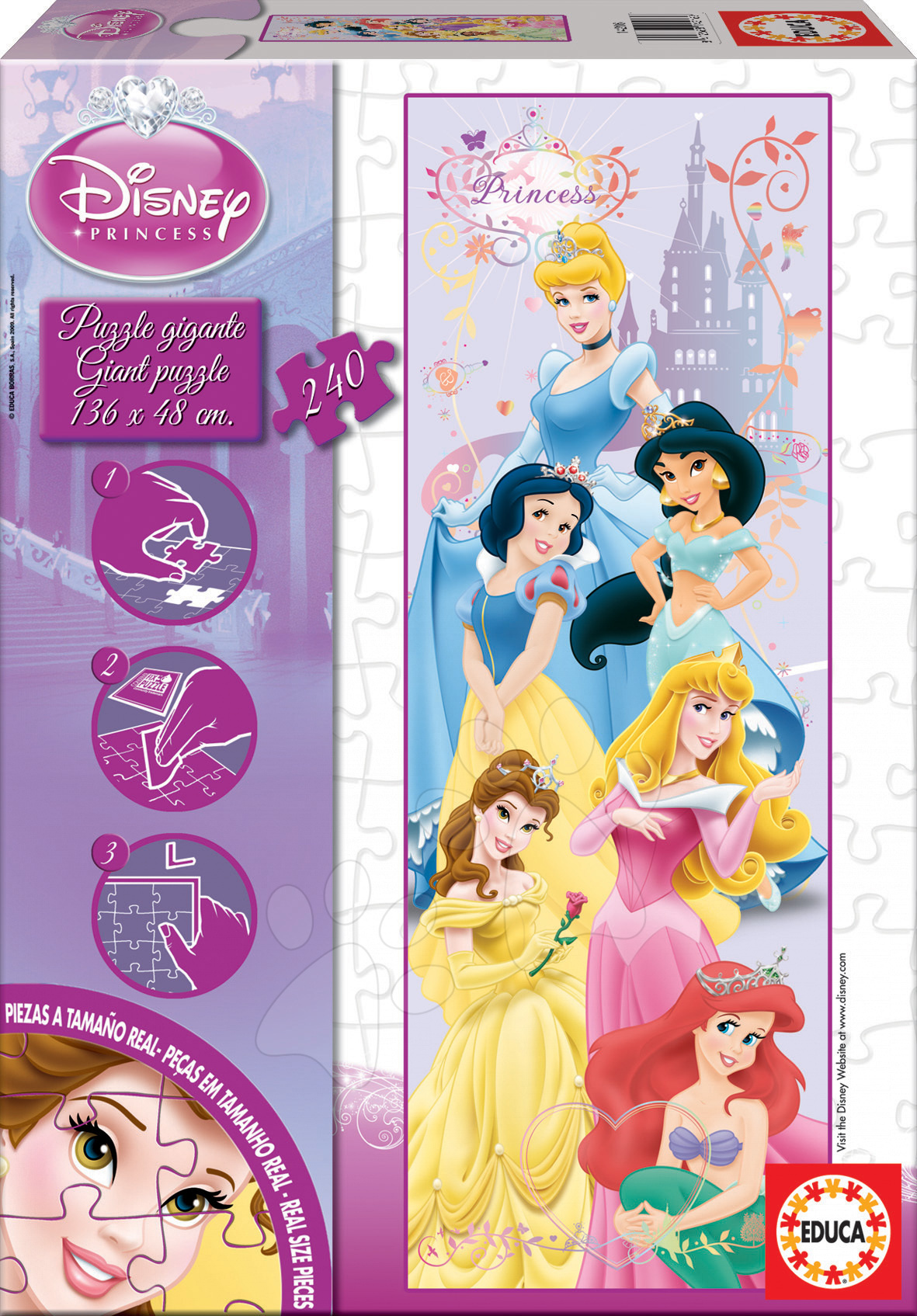Detské puzzle Giant Walt Disney Princezné Educa 240 dielov 14881 farebné