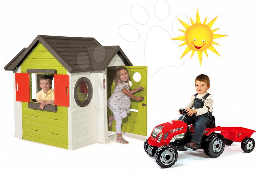 Set dětský domeček My House Smoby se zvonkem a šlapací traktor RX Bull s přívěsem od 2 let